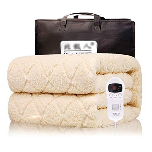 Coperta di riscaldamento in pile bianco Queen 71  X59, coperta riscaldata riscaldata elettrica ultra morbida con 9 impostazioni termiche e 2H, timer regolabile 10h e spegnimento automatico automatico