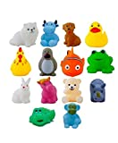 FunBlast Bath Toys for Baby – Pack of 14 Pieces - Colorful Animal Bath Toys, Toddler Baby Bathtub Bathing Squeeze Bath Toy (Multicolor)