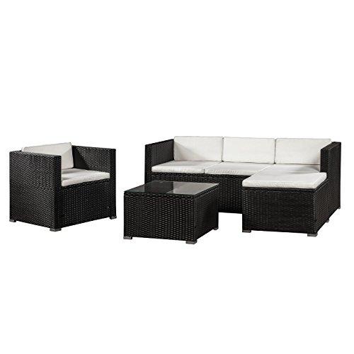ArtLife Polyrattan Lounge Punta Cana L schwarz mit Bezügen in Creme | Gartenlounge mit Sofa, Sessel & Tisch für 4 – 5 Personen | Sitzgruppe
