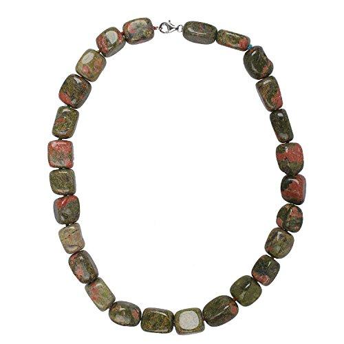 Collar de mujer de plata de ley 925 rodiada con cabujón Unakit verde rojo 45 cm de largo, cadena de piedras preciosas única