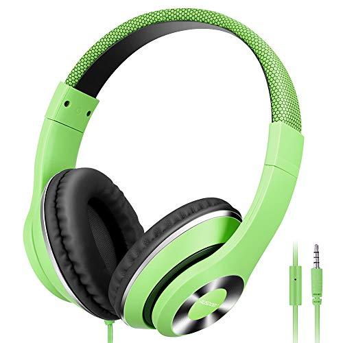 Ausdom HiFi-Stereo-Kopfhörer mit integriertem Mikrofon, leicht, mit Geräuschisolierung, Einstellbarer tiefer Bass für iPhone, iPod, iPad, MacBook, MP3, Smartphones, Laptop, Grün