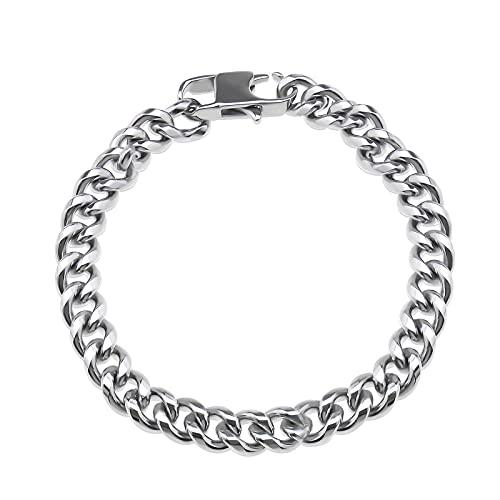 Pulsera de 19 cm o 21 cm personalizable, plata de acero inoxidable, cadena de eslabones para hombre, chico, hip hop, 21cm,