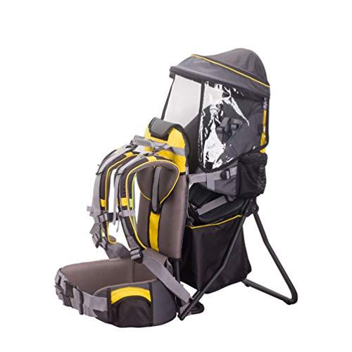BJYX Kindertragerucksack Multifunktionaler Abnehmbarer Kinderwagen mit Verstellbarer Sitzhöhe und Markise für Outdoor Wandern Reisen Camping Maximale Belastung 20 Kg,Gelb