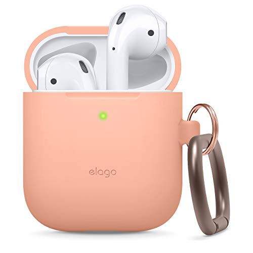 elago Silicone Case with Keychain Designed for Apple AirPods Case [ Peach ]