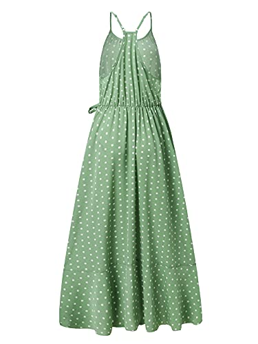 ACHIOOWA Mujer Vestido Elegante Impreso Froal Playa Bohemio Dress Cuello V Manga Corta Escote Fiesta Cóctel Falda Larga Verde Claro XL