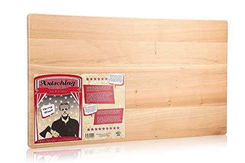Axtschlag XXL Arbeits- & Schneidebrett, edles Kirschholz, 700x400x25 mm, extra großes Küchenbrett, massives Holz, pflegeleicht, beidseitig verwendbar