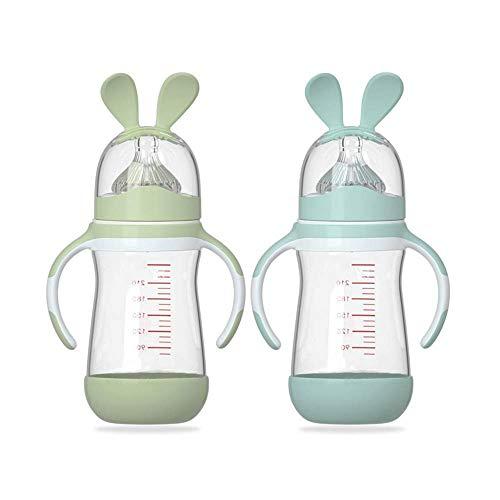 HuBorns. Biberón anticólicos - Pack biberones anticólicos para recién nacidos 240ml + 240ml - Biberones para bebés con tetina de agarre natural - Dos biberones de cristal de 240 ml