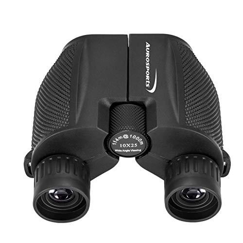 Aurosports 10x25 Binoculars for Adults and Kids, Folding Compact Binocular with Weak Light Vision, Lightweight Small Binoculars for Bird Watching, Travel, Concerts, Hunting, Hiking