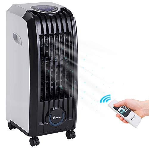 Bakaji - Refrigerador con ventilador para aire acondicionado, máximo potencia de refrigeración con agua, con depósito de hielo, temporizador y mando a distancia (4 litros grande)
