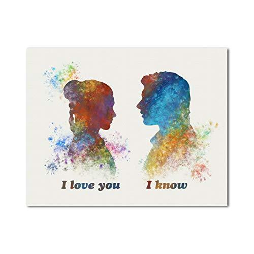 Star Wars Han Solo and Leia I love you I know 11' x 14' Print