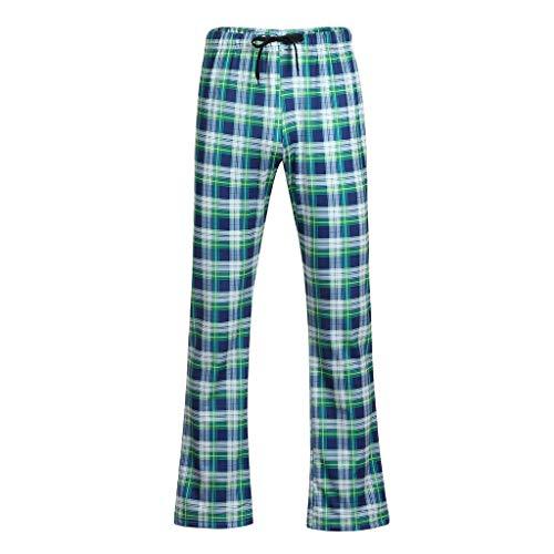 Schlafanzug Herren Schlafanzughose Plaid Lang Pyjama Nachtwäsche Schlafhose Oberteile Schlafshirt mit Taschen für Männer Herbst Winter Zuhause Freizeithose Karierte M/L/XL/XXL
