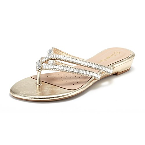 DREAM PAIRS Jewel_01 Sandalias Planas Chanclas para Mujer Oro 39 EU / 8 US