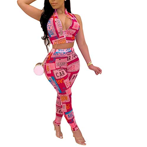 2 Piece Pants Outfits for Women Summer Clubwear - Front Zipper Printed Sleevess Crop Tops High Waisted Skinny Bodycon Pants Suit Sports Tracksuit Clubwear Mutlicolored Pink L