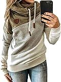 Dresswel Womens Cowl Neck Color Block Hoodies Long Sleeve Hooded Sweatshirt Pullover Jumpers Hoody Top