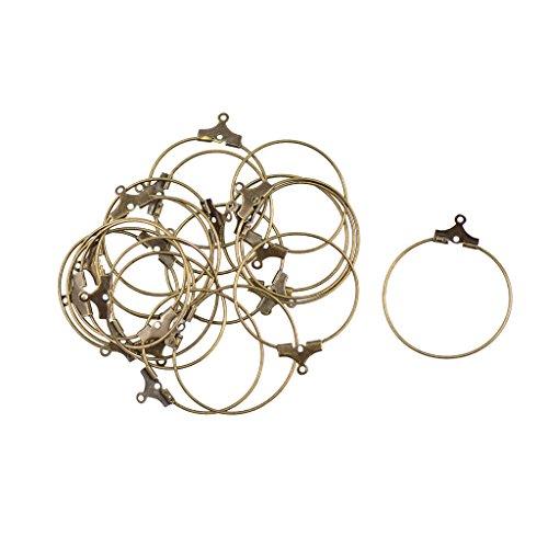 MagiDeal 20 STK. Hoop Huggie Ohrringe ringförmige Creolen Ohrring DIY Findings - Antik Bronze