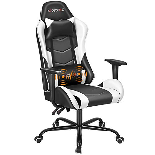 ECOTOUGE PC Gaming Chair Massage Ergonomic Office Desk Chair Racing PU Leather Recliner Swivel...