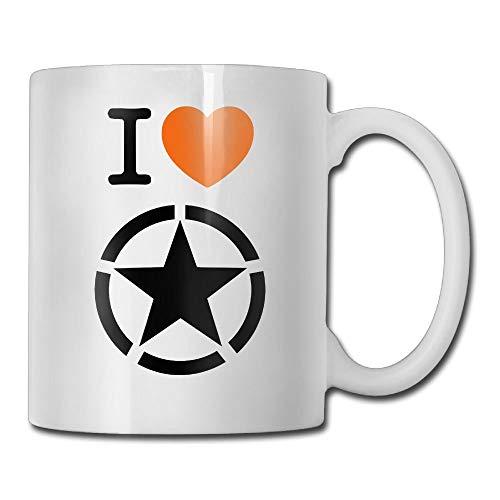 Daawqee Travel Mugs Coffee Mug NEW I Love The USA Military Star Symbol America Power Mugs Funny Ceramic Coffee Tea Cups, Double-side Printing, 11oz