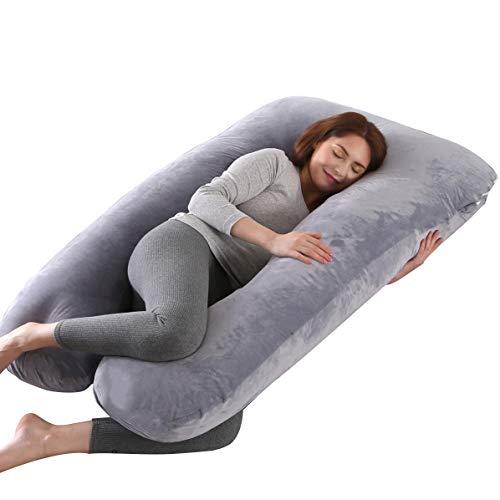 ARNTY Almohada Embarazada Dormir,Almohada de Maternidad Forma u,Embarazo Almohada de Cuerpo Mejorar Sueño, con Funda Extraíble y Lavable (Terciopelo-Gris)