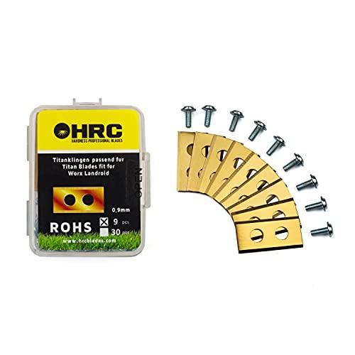HRC Cuchillas de Repuesto de Titanio, compatibles con el Robot cortacésped Worx Landroid, Cuchillas duraderas de Acero Inoxidable, Tornillos incluidos, 9 Piezas