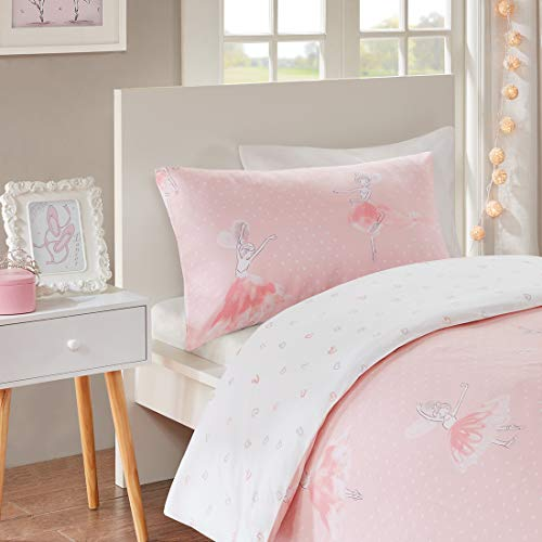 SCM Baby Bettwäsche 100x135cm Rosa 100% Baumwolle 2-teilig Deckenbezug Kopfkissenbezug 40x60cm Ballerina Ballett Mädchen Prinzessin Pink Amelia