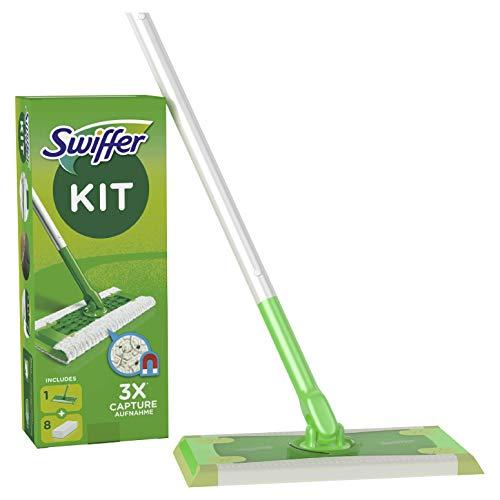Swiffer Starter Kit Scopa con 1 Manico + 8 Panni di Ricambio, per Catturare e Intrappolare la Polvere