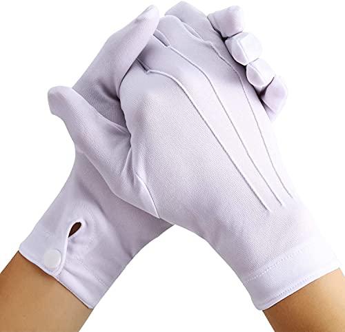LYTIVAGEN 3 Paar Weiße Handschuhe Dünne Handschuhe Stoff Handschuhe Weiße Kostüm Handschuhe Inspektion Handschuhe mit Druckknopf Atmungsaktiv Smoking Handschuhe für Polizei Kellner Schmuck Display