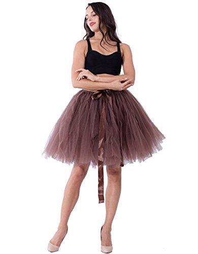 Babyonline Damen Rock Tutu Prinzessin Tüll Ballett Tütü Braun