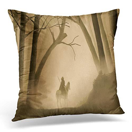 Awowee Funda de cojín de 40 x 40 cm, diseño de héroe guerrero a caballo en el bosque neblinoso, pintura de fantasía, decoración del hogar, funda de almohada cuadrada para sofá cama