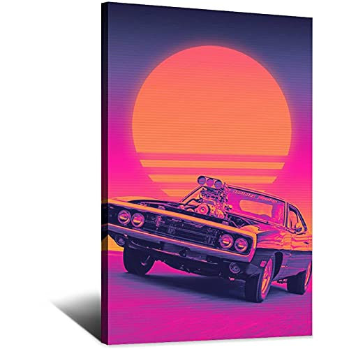 runguor poster Synthwave Poster Dodge- Charger Car Canvas Art poster canvas prints wall art poster painting for living room decorations Frame-Synthwave Poster Dodge- charger car Canvas art 20x30inchs(