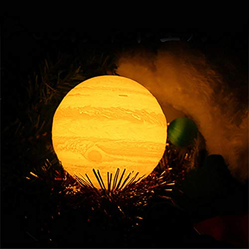 Powzz ornament Skulpturen Statuen Dekoartikel Jupiter Lamp 3D Print Moonlight Bedside Night Light Creative Table Lamp@Pat Three Colors_13Cm Solid Wood Bracket