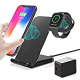 HUOTO Wireless Charger,2 in 1 Wireless Charging Dock with iWatch Stand for iWatch 5/4/3/2, 7.5w Qi Fast Charger for iPhone 11/11 Pro Max/XR/XS Max/XS/X/8/8P/Galaxy Note 10/S10/S9 (AC Adapter) (Black)