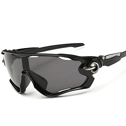 KRY UV400Occhiali da sole sportivi da uomo, infrangibili, montatura in metallo, ideali per guida, golf e pesca, Uomo, Black, 145mm * 50mm * 122mm