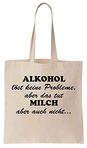 Finest Prints Alkohol Löst Keine Probleme, Aber Das Tut Milch Aber Auch Nicht. Cotton Canvas Tote Bag