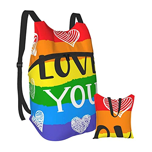 SKGQZD Backpack Rucksack Homosexuell Romantik wieder feministisches Logo Männer und Wasserdichter tragbarer Klapprucksack Reisesport Shopping