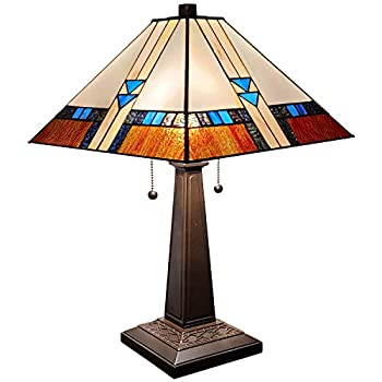 Amora Lighting Tiffany Style Table Lamp Mission 23  Tall Stained Glass Blue White Brown Vintage Antique Light Décor Nightstand Living Room Bedroom Office Handmade Gift AM243TL14B Multicolored