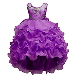Purple Ruffles Lace Party Dress With Sequins