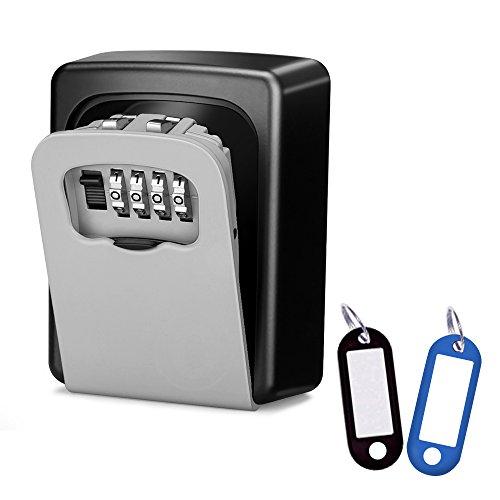 Wonyered Caja de Seguridad Cerradura Fuerte con 4 Numeros de Códigos para Guardar las Llaves Joyas o Tarjeta bancaria en Pared o Mirilla