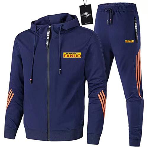 MQJUNZE de Los Hombres Chandal Conjunto Trotar Traje FA_NU.C-s Hooded Zipper Chaqueta + Pantalones Deporte X/Azul/XXL