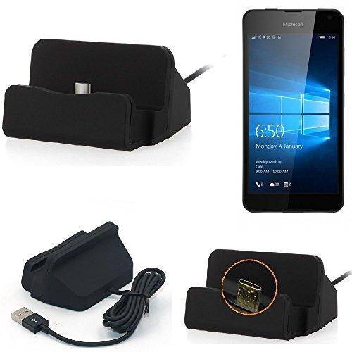 K-S-Trade Dockingstation Kompatibel Mit Microsoft Lumia 650 Docking Station Micro USB Tisch Lade Dock Ladegerät Charger Inkl. Kabel Zum Laden Und Synchronisieren, Schwarz