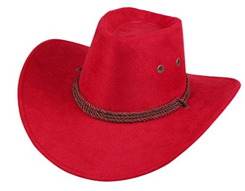UwantC Mens Faux Felt Western Cowboy Hat Fedora Outdoor Wide Brim Hat with Strap Red