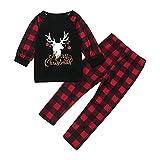Hengyouhui Familie Pyjama Set Christmas Nachtwäsche Hausanzug Outfit Schlafanzug Weihnachtspyjama Nachthemd Freizeit Party Geschenk