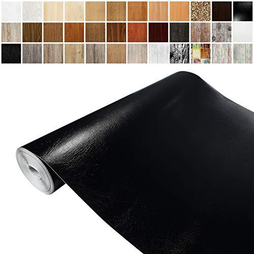 Askol DecoMeister Klebefolien in Leder-Optik Lederfolien Deko-Folien Lederdekor Selbstklebefolie Möbelfolie Selbstklebend 45x100 cm Leder Schwarz