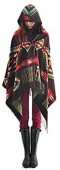 YEESAM Hoodie Poncho Bohemian Blanket Hooded Shawl Cape Cloak Scarf Tassel  Coffee
