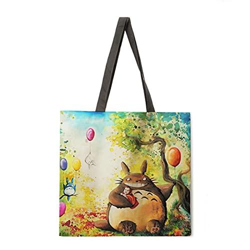 yqs Bolsa de Playa Acuarela Imprimir Bolso de Asas Reutilizable Bolsa de Playa Ropa de Cama Casual Bolsa de Hombro para Mujer Bolsa de Compras Plegable (Color : 5, Size : L)