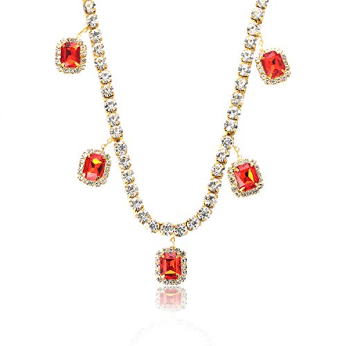 Halukakah Gold Chain for Men Iced Out,Men's Tennis Chain with Ruby 18k Real Gold Plated Choker Necklace,Gift for Him