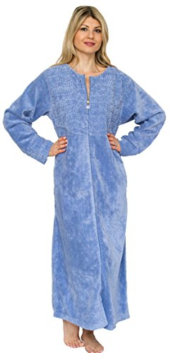 Bath & Robes Women's Cotton Chenille Robe Full Length (Small, Sky Blue)
