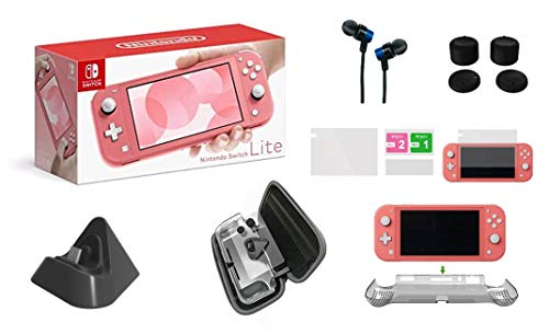Newest Nintendo Switch Lite Game Console, 5.5' LCD Touchscreen Display, Built-in Plus Control Pad, W/GM Carry Bag, Charging Base, Earphone, Protective Case, Built-in Speakers, 3.5mm Audio Jack (Coral)