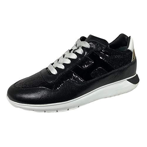 Hogan E58 Sneakers Donna H371 INTERCTIVE3 Black Paillettes Shoes Women [38]