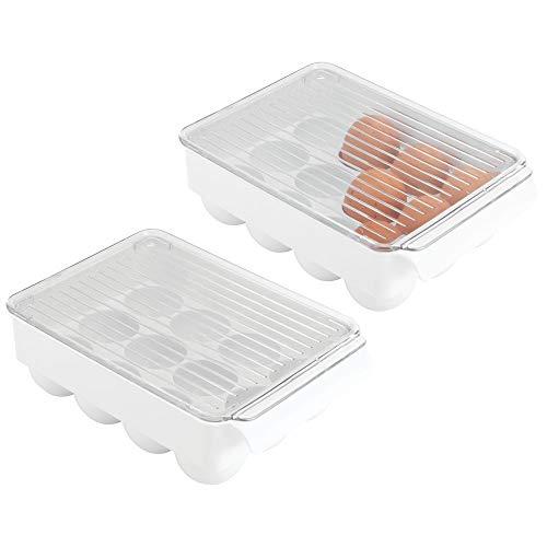 mDesign 2er-Set Eierhalter mit Deckel – praktische Eierbox aus BPA-freiem Kunststoff für je 12 Eier – stapelbarer Eierbehälter mit Deckel und seitlichem Griff – weiß/durchsichtig