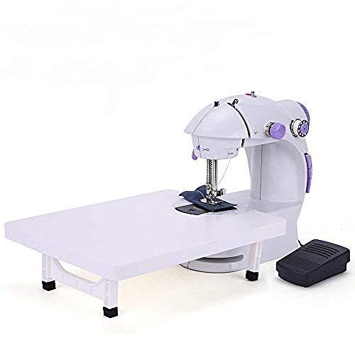 Yuaer Mini máquina de coser portátil para el hogar, máquina de coser resistente de 2 velocidades con mesa de extensión + pedales para telas, ropa, viajes familiares